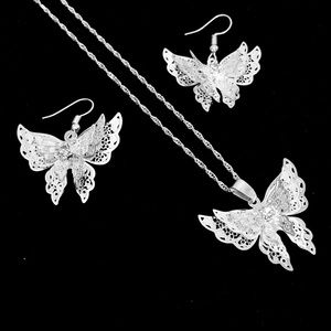 Lacey Silver Filigree 3DButterfly NecklaceEarrings